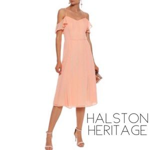 Halston blush metallic off shoulder midi dress